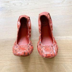 TORY BURCH Orange snakeskin Eddie ballet flats